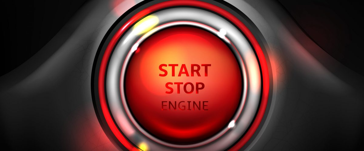 Start and stop car engine ignition button vector illustration. Realistic round red control in chrome metallic frame with LED illumination on vehicle dashboard